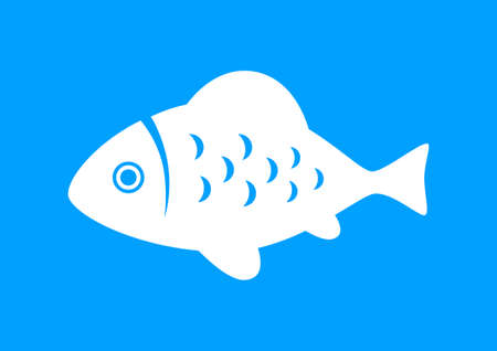 White fish icon on blue background Vector
