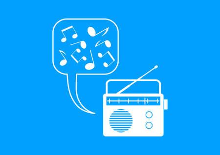 White radio icon on blue background Vector