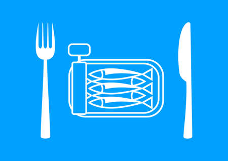 tinned: White sardines with cutlery on blue background