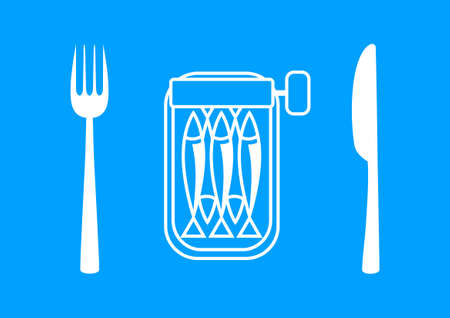 sardines: White sardines with cutlery on blue background
