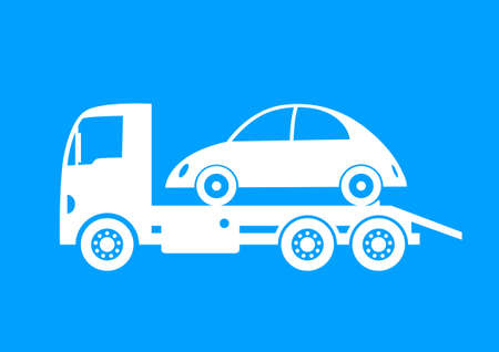 breakdown truck: White tow truck and car on blue background