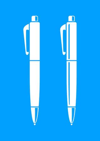 writing instrument: White ballpoint icon on blue background