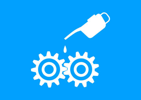 oilcan: White industrial icon on blue background