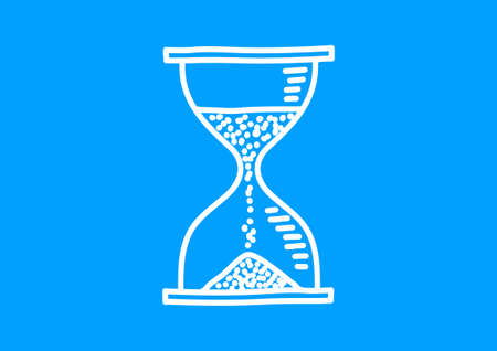 hourglass: White hourglass icon on blue background Illustration
