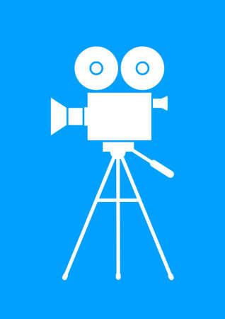 camara de cine: C�mara de pel�cula de blanco sobre fondo azul Vectores