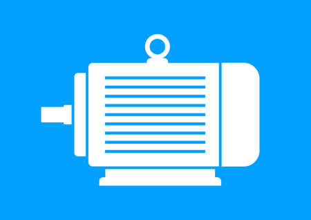 electric motor: White electric motor on blue background
