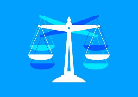 balanza en equilibrio: Escala icono sobre fondo azul Vectores