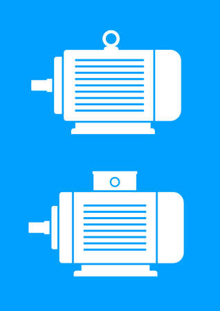 electric motor: White electric motor icons on blue background  Illustration