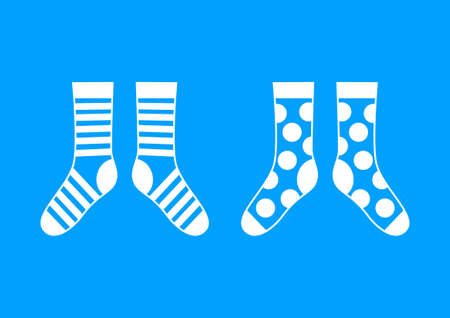 hosiery: White socks on blue background