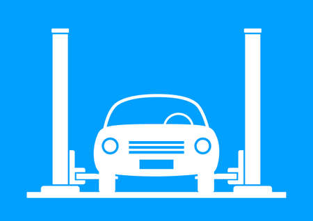 White car service on blue background Vector