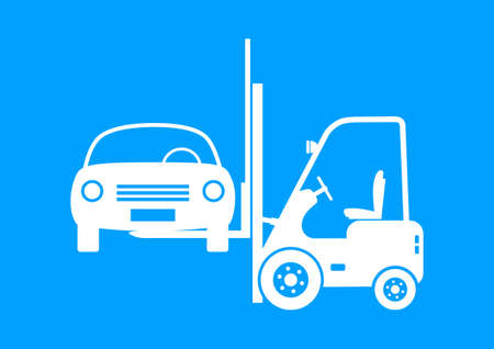 forklift truck: Forklift truck with car on blue background