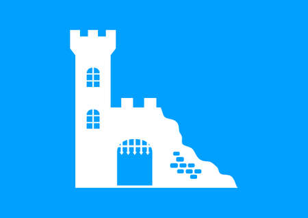 fortification: White castle ruins on blue background Illustration