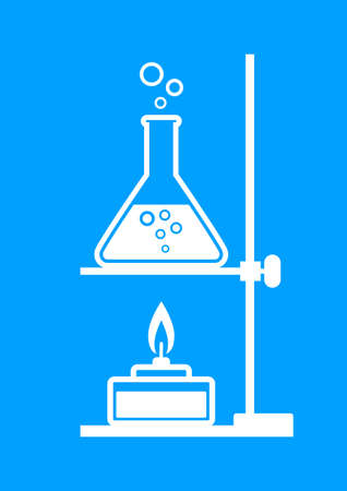 laboratory equipment: White laboratory equipment on blue background