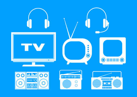 White audio and TV icons on blue background   Vector