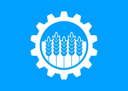 toothed: Industrial icon on blue background Illustration
