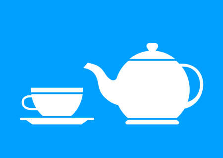 teacup: White teapot and teacup on blue background Illustration