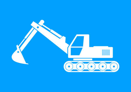 digger: White excavator icon on blue background