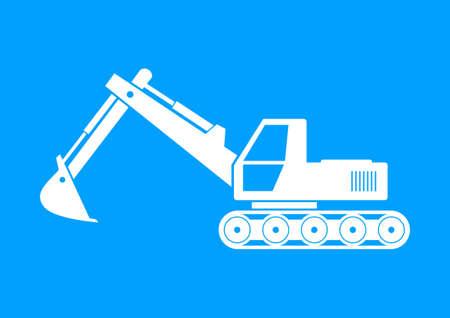 earthmover: White excavator icon on blue background