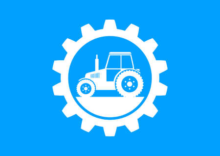 crop circle: White industrial icon on blue background