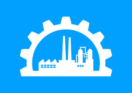 industrial icon: White industrial icon on blue background