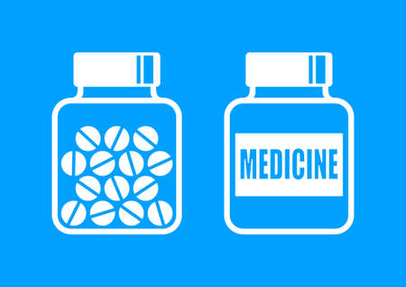a substance vial: White medicine icons on blue background