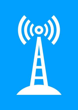 radio mast: White transmitter icon on blue background