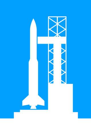 booster: Blanco icono del cohete sobre fondo azul