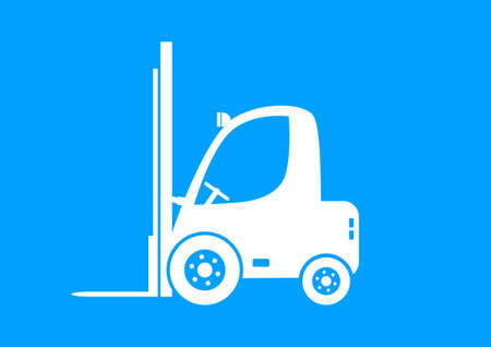 forklift truck: White forklift truck on blue background