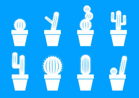 White cactus icons on blue background Vector