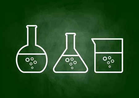 Drawing of laboratory glass on blackboard Vector