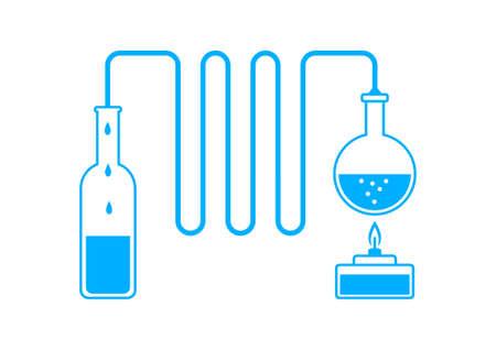 destilacion: Kit de destilaci�n azul sobre fondo blanco