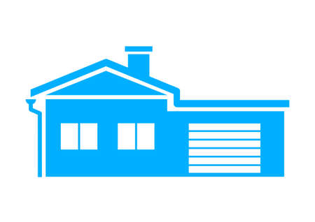Blue house icon on white background Vector