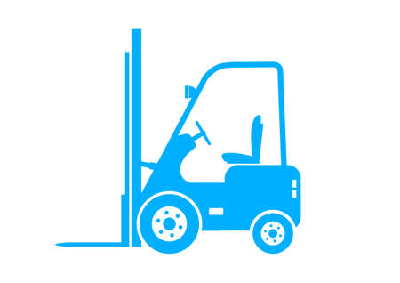 forklift truck: Blue forklift truck on white background