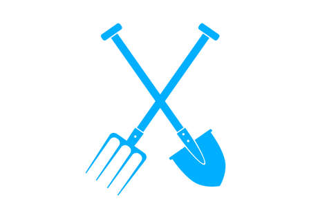 Blue spade and pitchfork on white background Vector