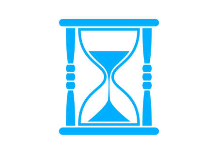 timepieces: Blue hourglass icon on white background