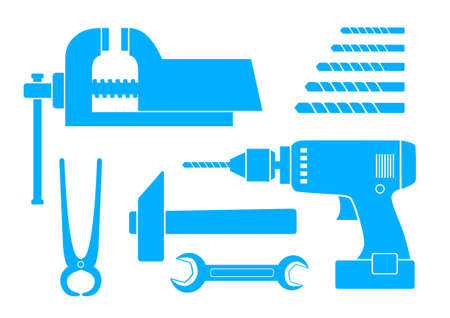 Blue tool icons on white background Vector