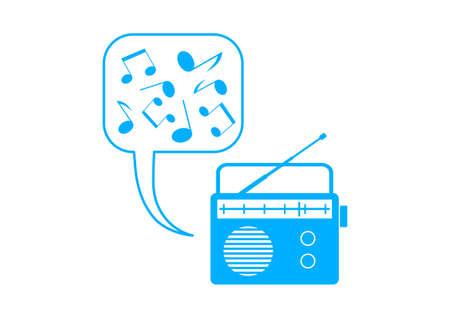 Blue radio icon on white background Vector