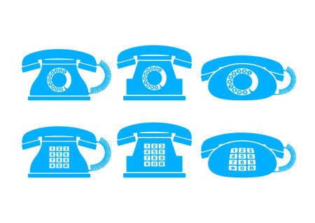 Blue telephone icons on white background Vector