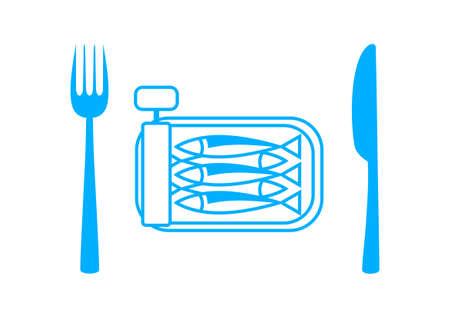 sardines: Blue sardines with cutlery on white background