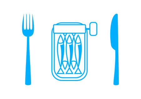 conserved: Blue sardines with cutlery on white background
