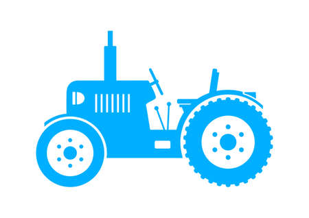 Blue tractor icon on white background Vector