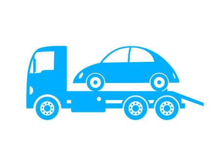 Blue tow truck and car on white background Vector