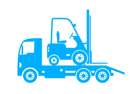Blue tow truck and forklift on white background Vector