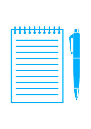 ballpoint: Blue ballpoint and notepad on white background
