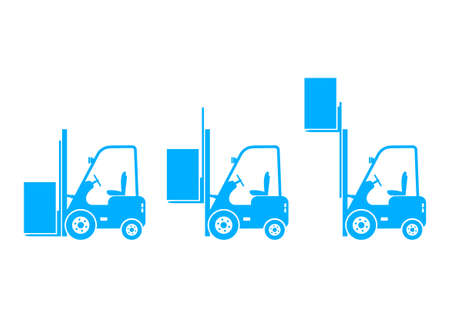 Blue forklift icons on white background Vector