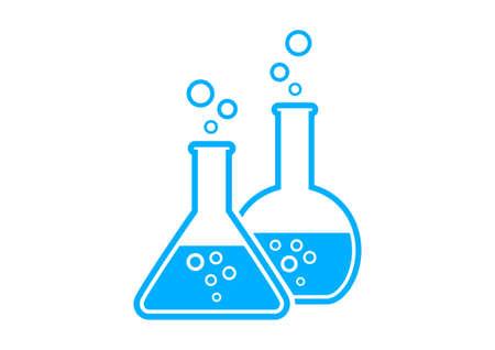 Blue laboratory glass on white background
