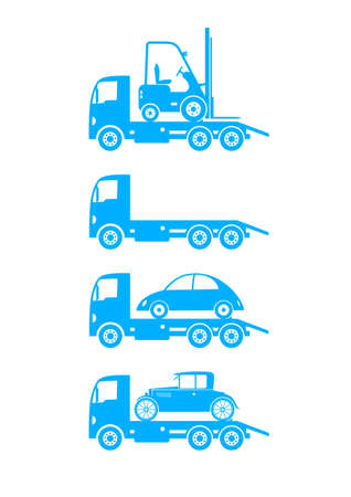 Tow truck icons on white background Vector