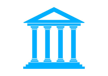 pillar: Blue historical building on white background Illustration