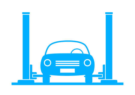 Blue car service on white background Vector