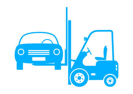 forklift truck: Forklift truck with car on white background